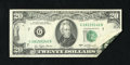 Error Notes:Foldovers, Fr. 2072-G $20 1977 Federal Reserve Note. About Uncirculated.. Thisstriking foldover has folded into itself twice in the lo...
