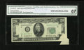 Error Notes:Attached Tabs, Fr. 2060-B $20 1950A Federal Reserve Note. CGA Gem Uncirculated67.. A nice-size attached tab is found in the lower right-ha...