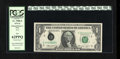 Error Notes:Ink Smears, Fr. 1908-E $1 1974 Federal Reserve Note. PCGS New 62PPQ.. This is agreat serial number 2 note that also has an overinked di...
