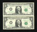 Error Notes:Ink Smears, Fr. 1908-I $1 1974 Federal Reserve Notes. Two Consecutive Examples.Gem Crisp Uncirculated.. Both notes have green ink smear... (Total:2 notes)