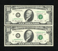 Error Notes:Ink Smears, Fr. 2022-L $10 1974 Federal Reserve Notes. Two ConsecutiveExamples. Choice Crisp Uncirculated.. The Treasury Building isca... (Total: 2 notes)