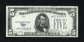"Error Notes:Obstruction Errors, Fr. 1654* $5 1934D Silver Certificate Star. Very Fine+.. Anobstruction caused the error on the left-side blue ""5"" counter o..."