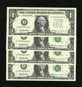 Error Notes:Obstruction Errors, Fr. 1924-A $1 1999 Federal Reserve Notes. Gem Crisp Uncirculated.. The first note does not have a Treasury Seal due to an ob...