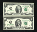 Error Notes:Miscellaneous Errors, Fr. 1935-E $2 1976 Federal Reserve Notes. Crisp Uncirculated.. The first note has a good-size board break within the Decla... (Total: 2 notes)