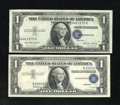 Error Notes:Error Group Lots, Third Printing Gone Awry.. Fr. 1614 $1 1935E Silver Certificate.XF. Fr. 1621 $1 1957B Silver Certificate AU.. The forme... (Total:2 notes)