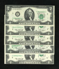 Error Notes:Error Group Lots, Fr. 1935-B $2 1976-B (2); C (2); I Federal Reserve Notes.. The twoFine New York district notes have minor upward shifts... (Total: 5notes)