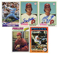 Autographs:Sports Cards, Steve Carlton Signed Baseball Cards Lot of 5. Five Steve CarltonTopps baseball cards offered here are from the 1970's. All...