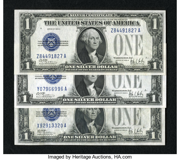 Fr 1602 1 1928b Silver Certificates Three Examples The Lot