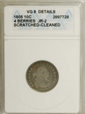 Early Dimes, 1805 10C 4 Berries--Cleaned, Scratched--ANACS. VG8 Details. JR-2.NGC Census: (5/211). PCGS Population (8/250). Mintage...