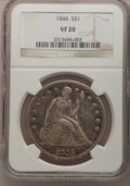 Seated Dollars: , 1844 $1 VF20 NGC. NGC Census: (1/123). PCGS Population (4/194).Mintage: 20,000. Numismedia Wsl. Price for problem free NGC...