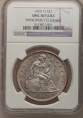 Seated Dollars: , 1859-O $1 --Improperly Cleaned--NGC. Unc. NGC Census: (34/225).PCGS Population (102/296). Mintage: 360,000. Numismedia Wsl....