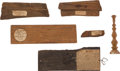 Military & Patriotic:Civil War, Relics: Six Wood Relics from Civil War Ships, USS Union, USS Essex, USS Supply, USS ... (Total: 6 Items)