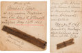Military & Patriotic:Civil War, Relics: From the Marshall House, Alexandria, Virginia where Colonel Elmer Ellsworth was Killed, May, 24, 1861, Two Relics from... (Total: 2 Items)