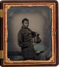 Military & Patriotic:Civil War, Great 1/6 Plate Tintype of a Black Civil War Infantryman....