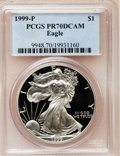 Modern Bullion Coins: , 1999-P $1 Silver Eagle PR70 Deep Cameo PCGS. PCGS Population (252).NGC Census: (2399). Numismedia Wsl. Price for problem ...