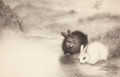 Pulp, Pulp-like, Digests, and Paperback Art, GARTH WILLIAMS (American, 1912-1996). The Rabbits' Wedding,Playing Games, page 14 and 15 illustrations, 1958. Ink wash,...
