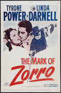 "Movie Posters:Swashbuckler, The Mark of Zorro (20th Century Fox, R-1958). One Sheet (27"" X 41""). Swashbuckler.. ..."