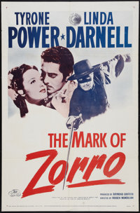 "The Mark of Zorro (20th Century Fox, R-1958). One Sheet (27"" X 41""). Swashbuckler"