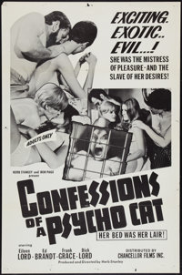 """Confessions of a Psycho Cat (Chancellor Films, Inc., 1968). One Sheet (27"""" X 41""""). Exploitation"""