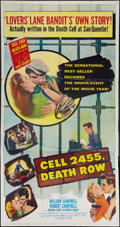 """Movie Posters:Crime, Cell 2455 Death Row (Columbia, 1955). Three Sheet (41"""" X 81"""").Crime.. ..."""