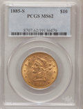 Liberty Eagles: , 1885-S $10 MS62 PCGS. PCGS Population (236/76). NGC Census:(220/64). Mintage: 228,000. Numismedia Wsl. Price for problem f...