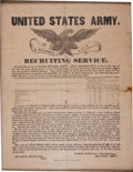 Military & Patriotic:Pre-Civil War, Very Rare Mexican War US Army Recruiting Broadside Dated 1847....