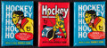Hockey Cards:Other, 1974 & 1975 Topps packs trio. ...