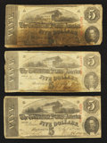 Confederate Notes:1863 Issues, T60 $5 1863 Five Examples.. ... (Total: 5 notes)