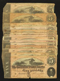Confederate Notes:1864 Issues, T69 $5 1864 Fourteen Examples.. ... (Total: 14 notes)