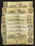 Confederate Notes:1863 Issues, T60 $5 1863 Eight Examples.. ... (Total: 8 notes)