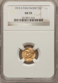 Commemorative Gold: , 1915-S G$1 Panama-Pacific Gold Dollar AU55 NGC. NGC Census:(29/3442). PCGS Population (113/5359). Mintage: 15,000. Numisme...
