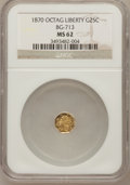 California Fractional Gold: , 1870 25C Liberty Octagonal 25 Cents, BG-713, R.4, MS62 NGC. NGCCensus: (2/9). PCGS Population (2/68). (#10540)...