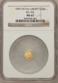 California Fractional Gold, 1859 25C Liberty Octagonal 25 Cents, BG-702, R.3, MS65 NGC. NGCCensus: (9/21). PCGS Population (15/1). (#10529)...