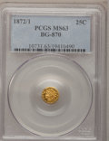 California Fractional Gold: , 1872/1 25C Indian Round 25 Cents, BG-870, R.3, MS63 PCGS. PCGSPopulation (79/89). NGC Census: (1/9). (#10731)...
