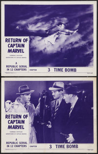 "Adventures of Captain Marvel (Republic, R-1953). Lobby Cards (2) (11"" X 14"") Chapter 3 -- ""Time Bomb.&quo..."