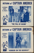 "Movie Posters:Serial, Captain America (Republic, R-1953). Lobby Cards (2) (11"" X 14"")Chapter 12 -- ""Horror on the Highway"" and Chapter 15 -- ""The...(Total: 2 Items)"