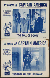 "Captain America (Republic, R-1953). Lobby Cards (2) (11"" X 14"") Chapter 12 -- ""Horror on the Highway""..."