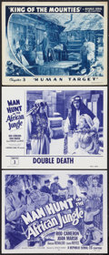 "Movie Posters:Serial, Secret Service in Darkest Africa Lot (Republic, R-1954). Title Lobby Card and Lobby Cards (2) (11"" X 14""). Chapter 3 -- ""Dou... (Total: 3 Items)"