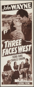 "Movie Posters:Adventure, Three Faces West (Republic, R-1948). Insert (14"" X 36"").Adventure.. ..."