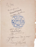Autographs:Others, 1939 Inaugural Hall of Fame Induction Class Signed Program....