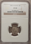 Coins of Hawaii: , 1883 10C Hawaii Ten Cents XF40 NGC. NGC Census: (27/236). PCGS Population (58/351). Mintage: 250,000. (#10979)...