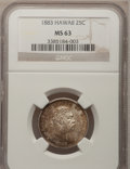 Coins of Hawaii: , 1883 25C Hawaii Quarter MS63 PCGS. PCGS Population (269/564). NGCCensus: (161/430). Mintage: 500,000. (#10987)...