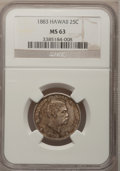 Coins of Hawaii: , 1883 25C Hawaii Quarter MS63 NGC. NGC Census: (161/430). PCGSPopulation (269/564). Mintage: 500,000. (#10987)...