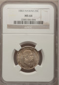 Coins of Hawaii: , 1883 25C Hawaii Quarter MS64 NGC. NGC Census: (192/238). PCGS Population (316/248). Mintage: 500,000. (#10987)...