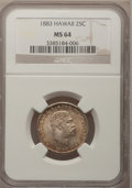 Coins of Hawaii: , 1883 25C Hawaii Quarter MS64 NGC. NGC Census: (192/238). PCGSPopulation (316/248). Mintage: 500,000. (#10987)...
