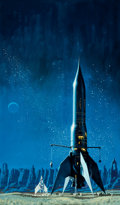 Pulp, Pulp-like, Digests, and Paperback Art, DEAN ELLIS (American, 1920-2009). Star Born, paperbackcover, 1970. Gouache and tempera on board. 23.5 x 14 in.. Notsig...