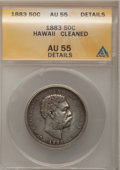 Coins of Hawaii: , 1883 50C Hawaii Half Dollar--Cleaned--ANACS. AU55 Details. NGC Census: (41/204). PCGS Population (54/250). Mintage: 700,000...