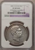 Coins of Hawaii: , 1883 $1 Hawaii Dollar--Improperly Cleaned--NGC Details. XF. NGCCensus: (46/216). PCGS Population (113/376). Mintage: 500,0...