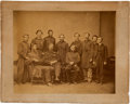 Military & Patriotic:Civil War, Civil War Albumen Portrait, Probably by Brady, Of Col./Brig. Gen. Daniel Dustin and Staff of the 105th Illinois Inf. ...