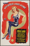 "Movie Posters:Exploitation, Why Girls Leave Home (PRC, 1945). One Sheet (27"" X 41""). Exploitation.. ..."